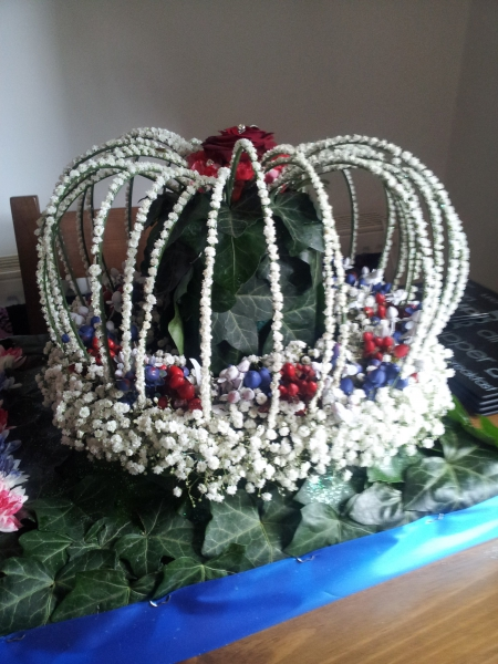 Competition piece - Crown Jewels in flowers - side view