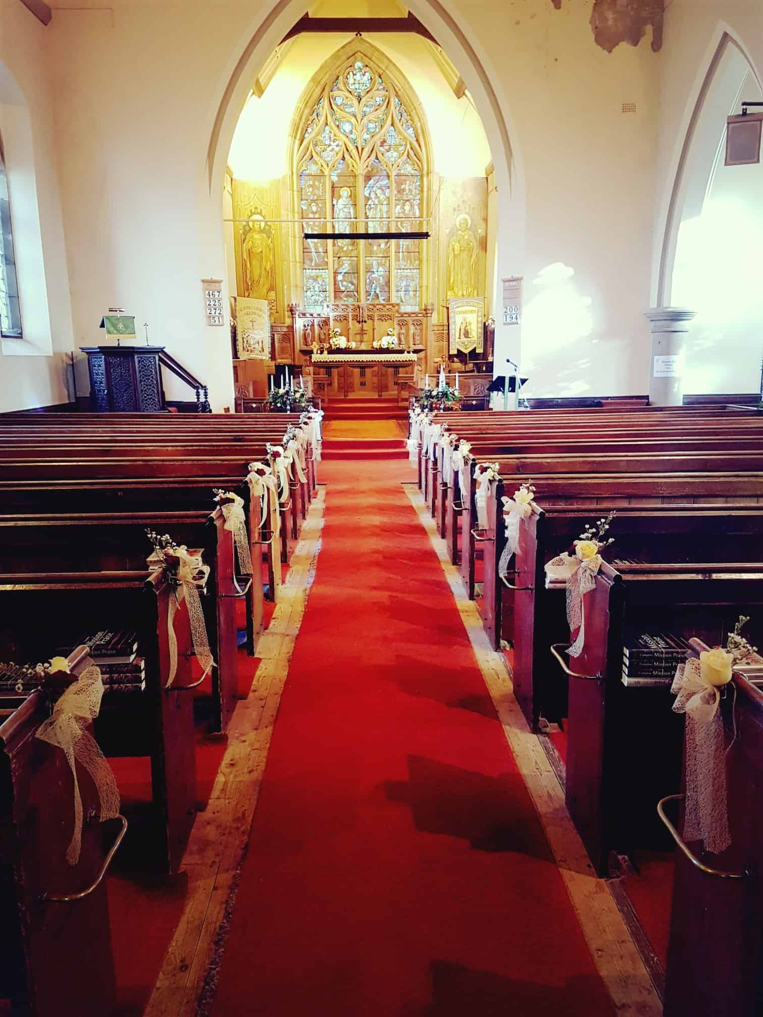 Down the aisle - pew ends