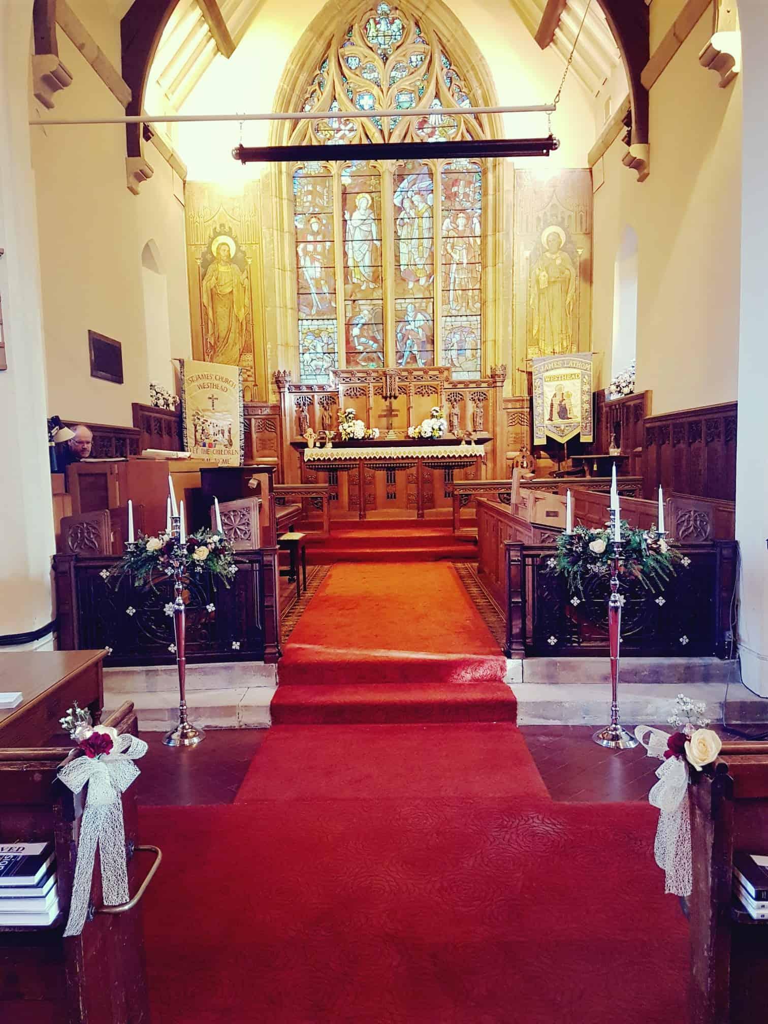 In church - candelarbras