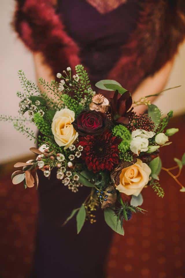 Bridesmaid Bouquet - deep reds