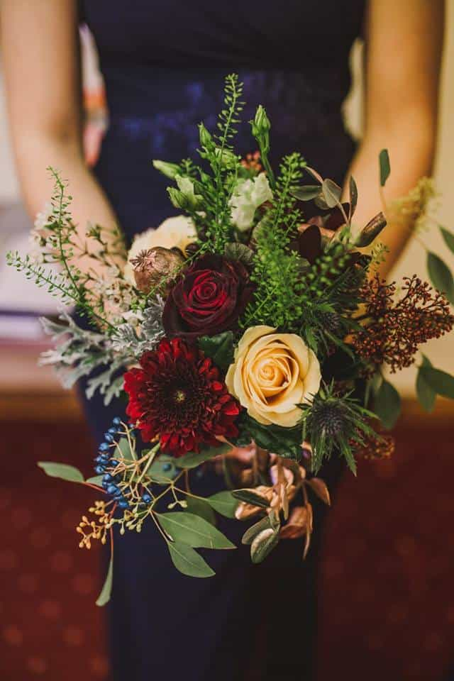 Bridesmaid Bouquet - complementary touches of blue