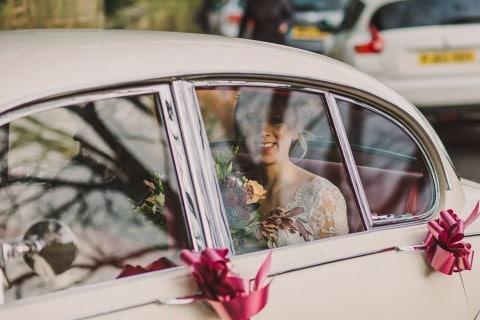 Wedding car - flowers through the window