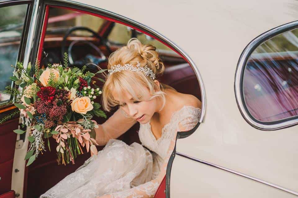 Brides Bouquet - getting out of the car