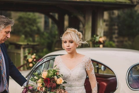 Bride with flowers in hand