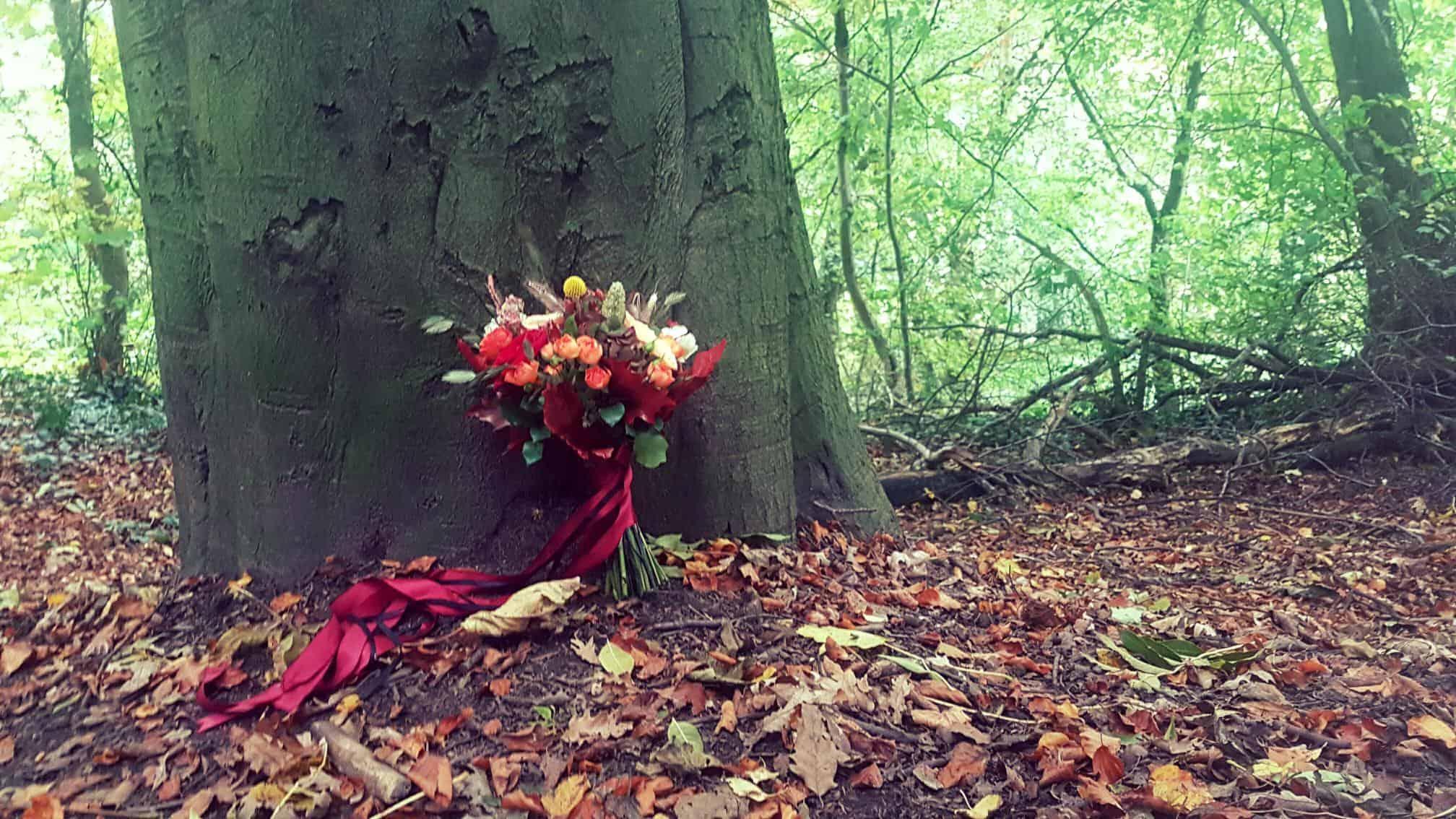 Wedding Bouquet in the woods