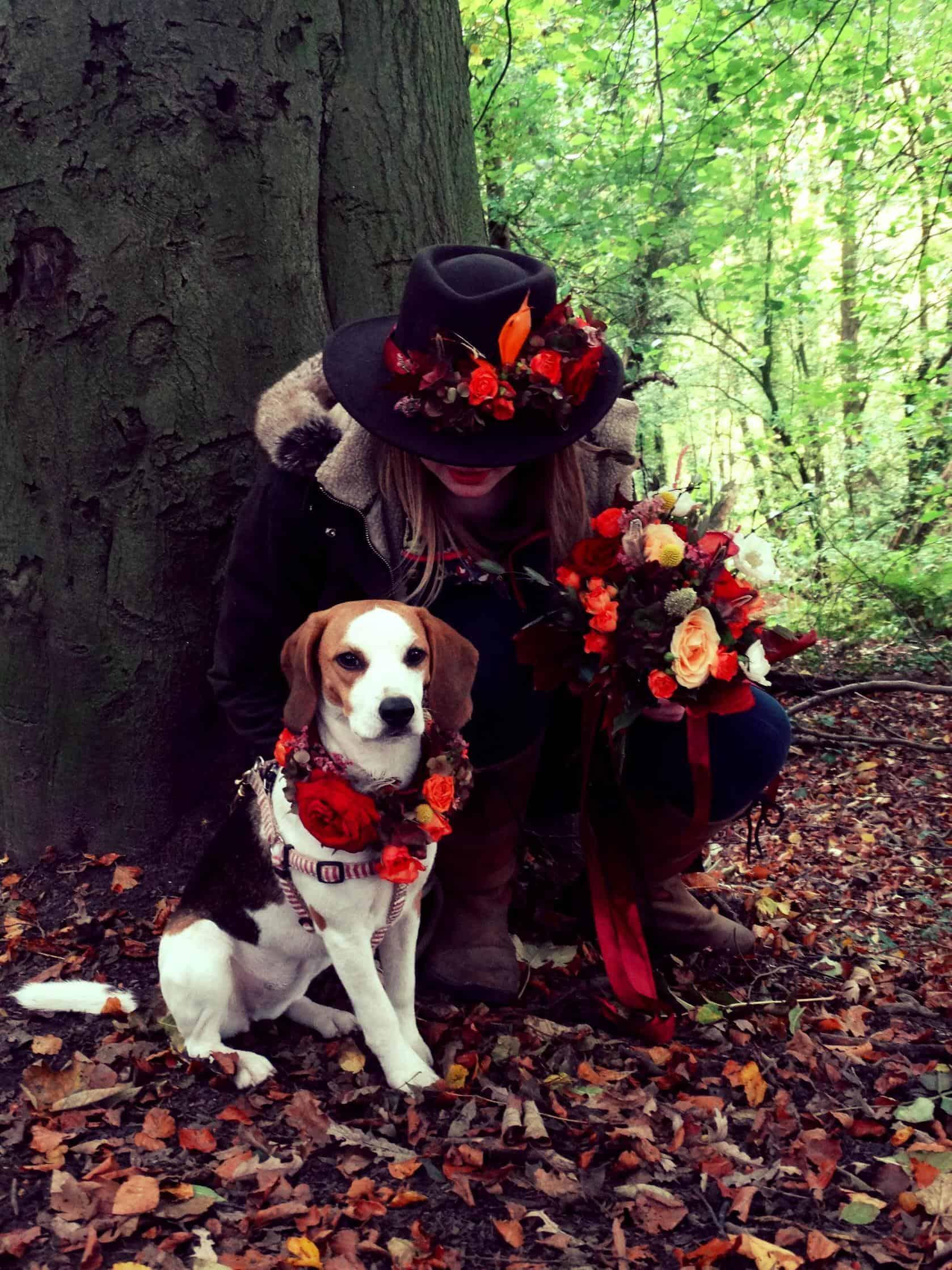 Hat flowers, pooch flowers, wedding flowers
