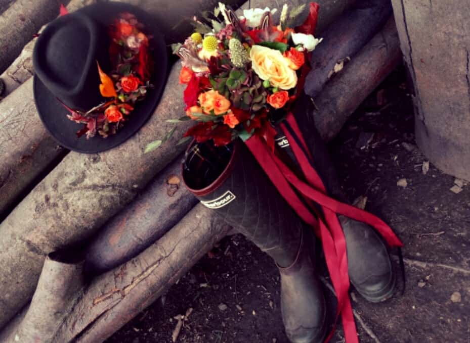 Wedding flowers in boots