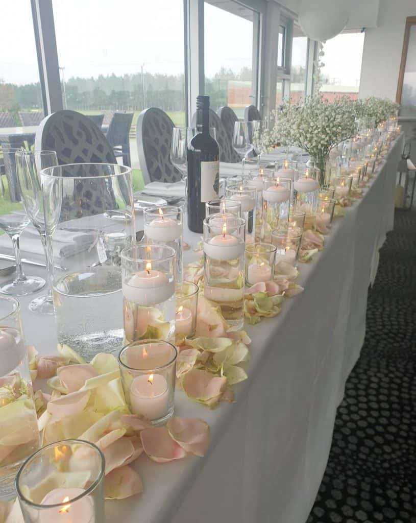 Table Centrepieces - top table with candles